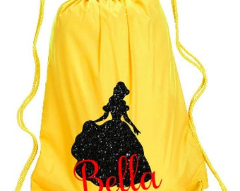 Belle Personalized bag, Beauty and the Best Backpack, Disney Trip Kids backpack, Family Vacation Princess Bag, Belle Cinch Bag