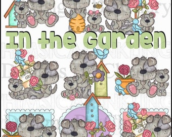 Fina and Fido In the Garden Planner Sticker, educational, scrapbooking, cardmaking clipart, small commercial and personal use ok
