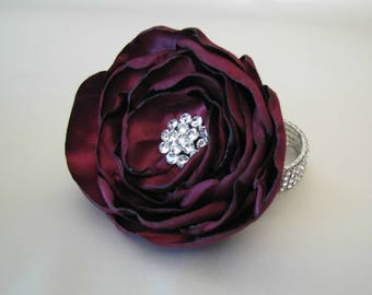 Plum Wrist Corsage, Wine Fabric Flower Mother of the Bride Brooch Rhinestone Bracelet, Prom Vintage-Style Shabby Chic Corsage