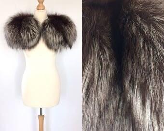 Vintage 1940's silver fox shoulder cape/stole/wrap