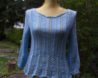 Bright blue knit jackets sweaters with peplum, Gr. 36-38 (S-m)