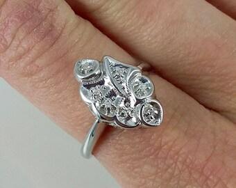 Vintage 14k 1940s White Gold Diamond Ring Sz 7