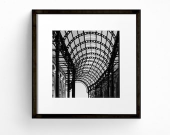 Square Print, London Wall Art, Abstract Photograph, Hay's Galleria, Industrial Art, Architecture Print, Black and White Photography