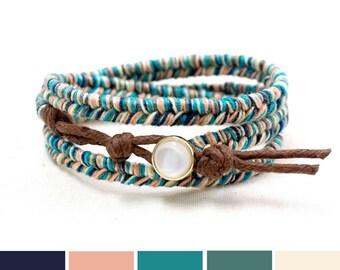 Blue Beach Jewelry, Boho Summer Bracelet Ideas, Colorful Bracelet Gift Ideas, Triple Wrap Bracelet, Thread Bracelet, Hippie Bracelet