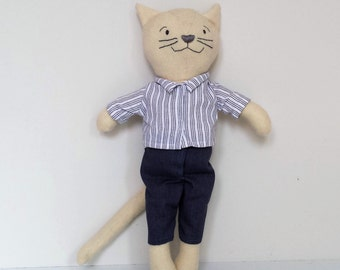 Rag Doll Cat, Plushie, Cat in Clothes, Pure Wool Cat, Gift for Kids, Modern Nursery Decor, named Eddie