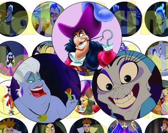 30 DISNEY VILLAINS  Digital Party Stickers Circles size 1'' and 1.5'' sheet A4 (8.5''x11'') Bottle Cap images Cupcake Toppers Disney