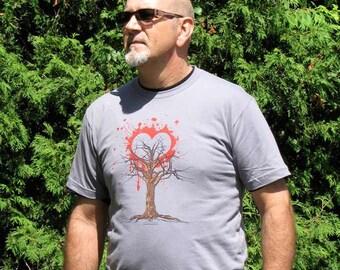 Tree gray t-shirt - Love of nature tee shirt - ecologic shirt