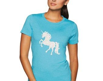 unicorn shirt, unicorn white glitter, crew neck, be a unicorn, lets be unicorns, glitter unicorn, i love unicorns, crew neck shirt
