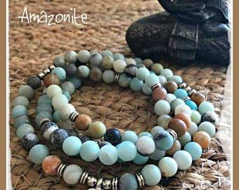 Amazonite Mala, 108 beads, Mala Bracelet, Reiki, Buddha, Rosary, Prayer beads, moon stone, Lotus mala, buddha, om, meditation mala, yoga
