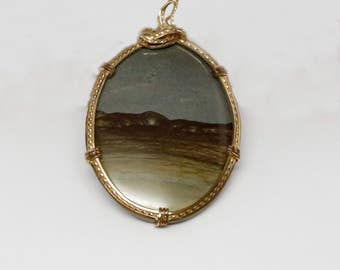 Unique Large Picture Agate 10K Yellow Gold Wire Wrapped Pendant