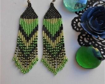 Hippie earrings Beaded earrings Long earrings  Beaded jewelry Native earrings Ethnic style Dangle earrings Bead earrings seed bead earrings