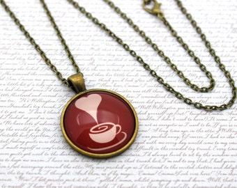 Coffee Cup, Tea Cup, I Love Tea, I Love Coffee Necklace or Keychain, Keyring