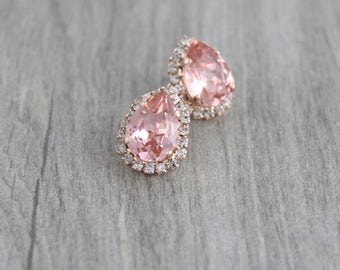 Rose gold earrings, Bridal earrings, Bridal jewelry, Crystal stud earrings, Swarovski earrings, Teardrop earrings, Blush crystal earrings