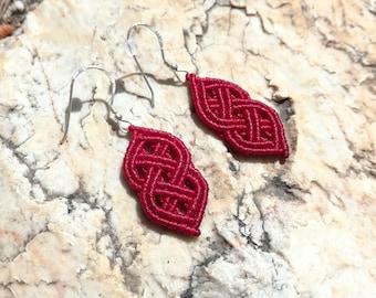 macrame celtic knot earrings in red