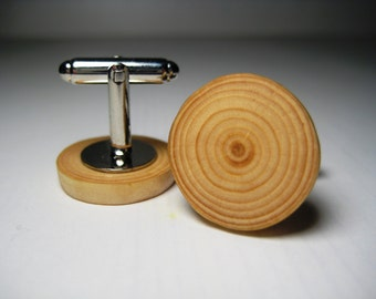WOOD CUFF LINKS, Groom Cuff links, Mens Cuff links, Gifts for Him, Spruce Wooden Cuff links, Natural cuff links