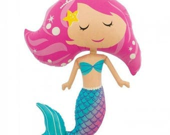 "Mermaid Balloon - 45"" Supershape Foil Balloon  - Mermaid party/ Girls Birthday/ Under the Sea/ Little Mermaid"