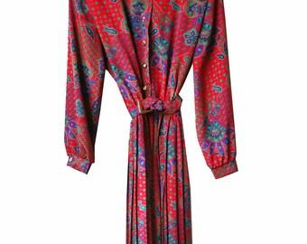 Vintage Floral Pleated Dress