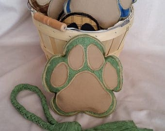 ON SALE!  Handmade Dog Toys - Green Print Paw Shaped Squeaker and Braided Pull/Tug