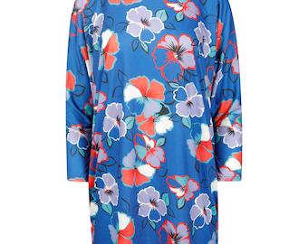 Women baggy oversized flower batwing top dress