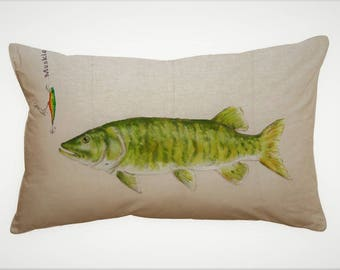 MUSKIE FISH PILLOW Cover, Fathers Day Gift Idea, Hand Painted Fish Pillow