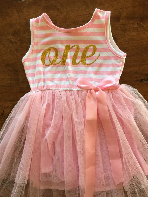 First birthday outfit, 1st birthday dress, pink tutu dress with gold letters, cake smash outfit, dress for girls first birthday