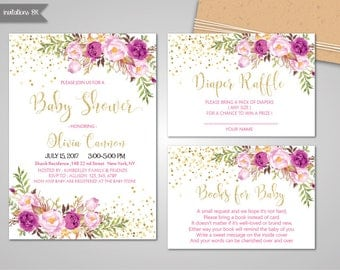 Baby Shower Invitation Printable, Baby Shower Invitation Girl, Magenta Flower, Pink and gold baby shower invitation, Lilac Floral Invitation