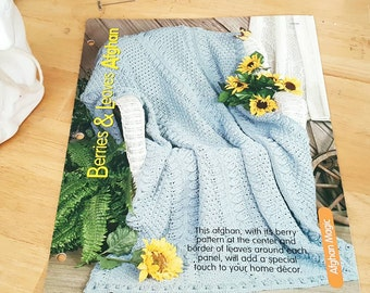 2002 House of White Birches Berries & Leaves Afghan Knitting Pattern