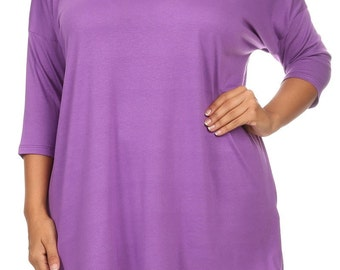 Solid Relaxed Tunic Plus Lilac