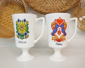Tall Milk Glass Mugs with Colorful Floral and Bird Designs with Names Thelma and Molly An