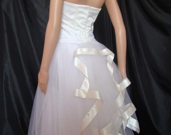 Wedding dress backless in tulle and white lace and satin ivory Duchess of high quality