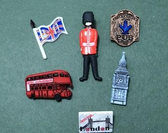 London Buttons - Destination England - London Bus - Big Ben - Queens Guard - Pub - British - Soldier - UK - Flag - Postcard - Holiday