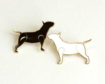 Set of two Bull Terrier brooches - Bull Terrier jewelry - Bullterrier gift - Enameled Metal Pin - White - Red