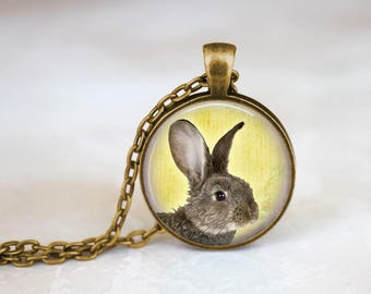 Spring Bunny Necklace Pendant Spring Jewelry