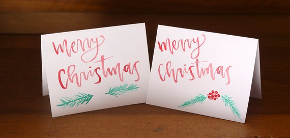 Hand Lettered Christmas Cards, set of 10 with envelopes