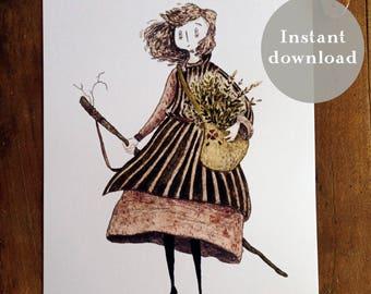 Gardener - Plant Collector - Portrait - Plants - Plant Art - Botanist - 8.5x5.5 Printable Art - Watercolor Print