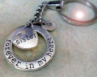 Sister Keychain, Forever In My Heart Sister Gift, Personalized w-Letter Charm of Your Choice, Engraved Sister Heart, Sister Birthday