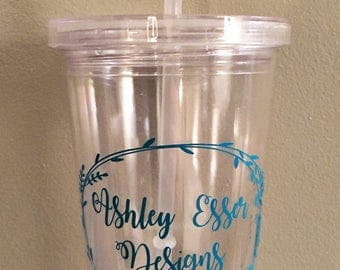 Personalized Tumbler, Wedding Gifts, Birthday, Just Because, Plastic Tumblers With Straw