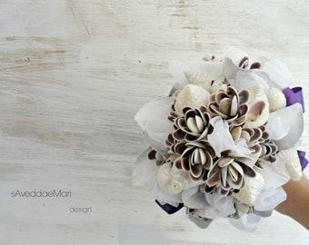 bouquets of shells, wedding bouquets, wedding flowers, made in Italy, Sardinia, beach wedding, shells flowers