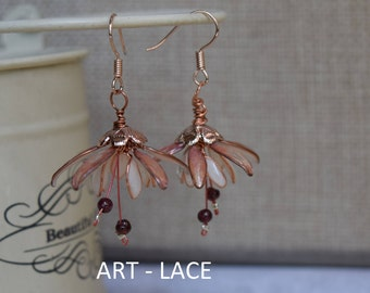 Rose Gold earrings for women Dangle Jasmine earring flower cluster earring White Flower garnet earring rose gold Bridal earring Gift for her