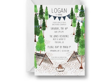 Woodland Birthday Party Invitation Set 10 PC//Watercolor//Nature//Camping// Birthday Invitations//Illustrations//Forest//Youth