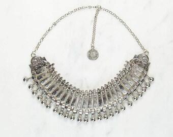 Anita Chunky Boho Silver Studded Necklace
