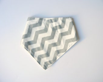 Grey & White Chevron Baby Dribble Bib, bandana bib, baby gift, baby shower gift