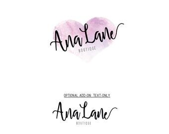 Logo Set, Lovely Heart Logo Set, Premade Logo, Custom Logo, Watercolor Logo, Shop Logo, Shop Sign, Branding Set