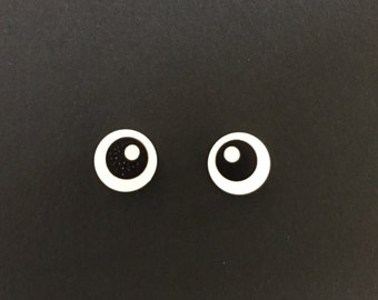LEGO Black Eye with Pupil Pattern Earrings
