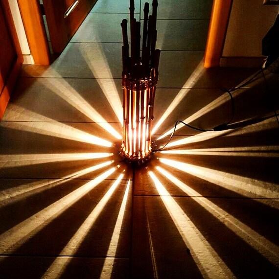 BAMBUS LAMPE, Lampe, Möbel, Licht, Holz, Entspannung, Schatten, Haus,  Zimmer, Atmosphäre, Abat Jour, Spiele, Lichter, Einzigartig, Licht