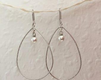 Silver drop earrings with Pearl, cute earrings Creole, noble