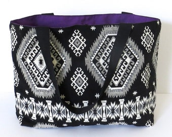 Aztec Fabric Tote Bag - Handmade Shopper, Purple Lined Canvas Bag, Beach Tote, LoadedBobbins