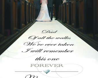 """Personalised Wedding Aisle Runner Dad. """"Walk of Love With Dad"""" Custom Church Wedding Carpet Decoration. Perfect Ceremony Finishing Touch"""