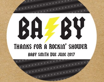 Gender Neutral Baby Shower Stickers, Rock and Roll Baby Shower Favor Stickers, Custom Baby Shower Favor Stickers