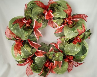 Dark Green Christmas Mesh Wreath